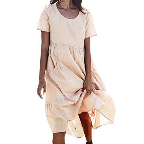 Lialbert Strandkleid Dame Leinenkleid Rundhals Kleid Maxikleider ÄRmeln T-Shirt-Kleid BüNdchen Sommerkleid Pailletten Frauen Swing-Kleid Skaterkleid Plissierter Beige