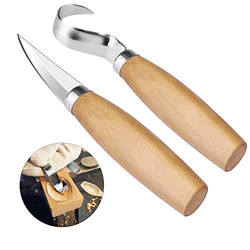 2pcs Holzschnitzerei Werkzeuge Set 402 Edelstahl Haken Messer Skulptur Tools für Löffel Schüsseln & Anfänger Professionelle Holzschnitzer