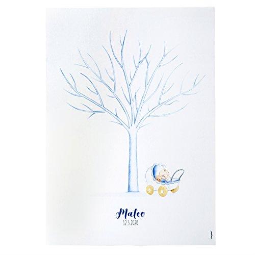 Mopec Pit&Pita Lámina Árbol de Huellas Cochecito Niño, Cartulina, Azul, 0.2x42x29.5 cm