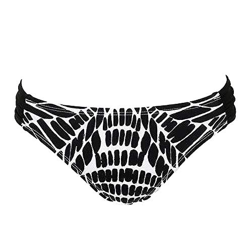 Bar III Womens Hipster Animal Print Bikini Swim Bottom B/W M Black