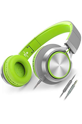 Ailihen Kopfhörer Mit Kabel Mikrofon Lautstärkeregelung Leicht Faltbar Musik Headsets 3,5mm für Smartphones PC Laptop Mac MP3 Tablet (Grau Grün)