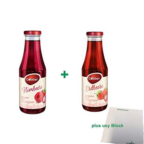Göbber Getränkesirup Testpaket Erdbeer & Himbeer (je 1x0,5l Glasflasche) + usy Block