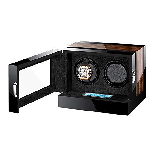 Caja enrolladora de Reloj automática Doble Motor silencioso Pantalla táctil LCD Pantalla Digital Carcasa de Madera + Almohada de Cuero + Pintura de Piano Happy Life