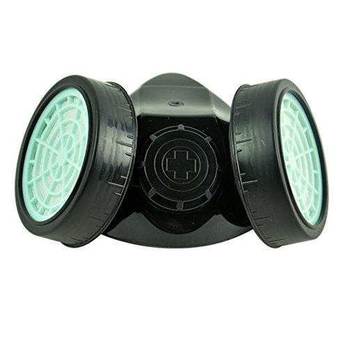MySixKeen Máscara de Filtro de Pintura de respirador de Cartucho Doble de Gas químico en Aerosol Antipolvo, Negro