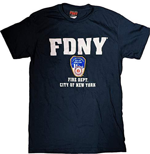 NYC FACTORY Kurzärmeliges T-Shirt, Marineblau, mit Logo und Plakette der New Yorker Feuerwehr (FDNY) in Weiß - XL