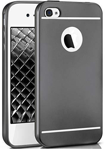 moex® Stylische Chrome Schutzhülle in Matt-Metallic aus Silikon passend für iPhone 4s / iPhone 4 | Flexibel & Widerstandsfähig, Schwarz