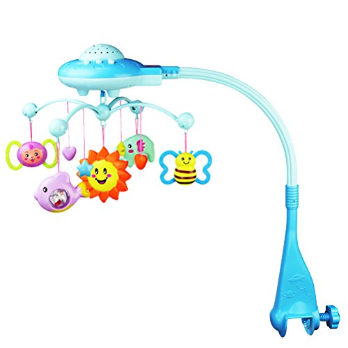 Toyvian Móvil Musical de Cuna con Juguete de Animales Proyector de Dibujo Animado Giratorio Juguete Musical Juguetes Educativos para Bebés Niños (Azul)