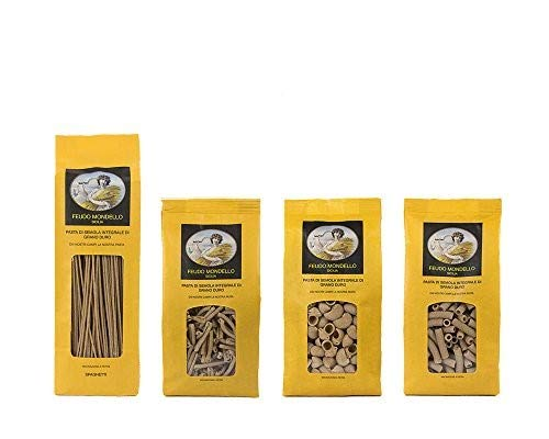Pastificio Feudo Mondello - Pasta integrale in confezione da 500 g. - Cartone da 8 pezzi di formati misti - 2 Spaghetti, 2 Casarecce, 2 Pipe rigate e 2 Maccheroni rigati (4 Kg)