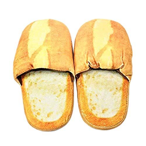 WPYST Slippers Realistic Look Bread Bun Plush Cotton Comfortable Indoor Shoes Men: 8 ~ 8.5 Women: 9 ~9.5 (B11984)