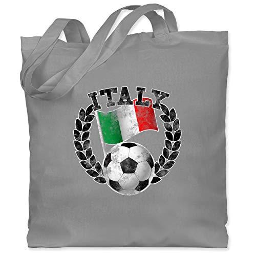Shirtracer Fußball-Europameisterschaft 2021 - Italy Flagge & Fußball Vintage - Unisize - Hellgrau - Italien - WM101 - Stoffbeutel aus Baumwolle Jutebeutel lange Henkel