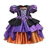 YWLINK Disfraz Bruja De Halloween para NiñAs Cosplay NiñA Halloween Vestidos,Vestido De Encaje De Malla Estampada Falda De Tutú De Princesa Vestido De CoronacióN Fiesta Disfraces De Halloween
