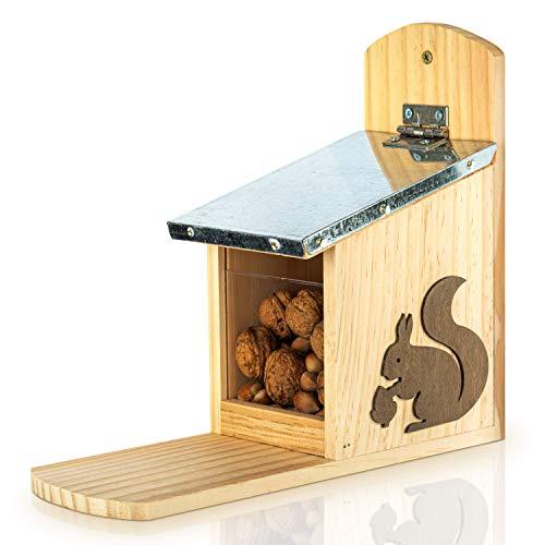 Skojig Eichhörnchen Futterhaus - fertig montiert aus Kiefernholz & 100% wetterfest | Futterstation zum Eichhörnchen füttern, Eichhörnchenfutterhaus, Futterstelle, Futterhäuschen