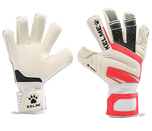Kelme Soccer Goalkeeper Gloves – Indoor and Outdoor - Training, Match and Professional Goalie Gloves for Adults and Kids with Finger Protection (White/Red, Size 10 (Adult))