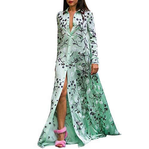 CANDLLY Kleid Damen, Mode Damen Sommer Lässige Knöchellange Mantelärmel Bedrucktes Umlegekragen Langarm Lange Strickjacke Kleider(Grün,XXXL