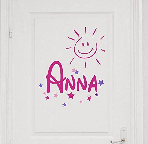 Türaufkleber mit Wunschnamen 73040-29cm-tricolore-pink, Sterne und Sonne fürs Mädchenzimmer, Kinderzimmer Mädchen, Kinderaufkleber, Wandtattoo mit Namen Aufkleber Namensaufkleber