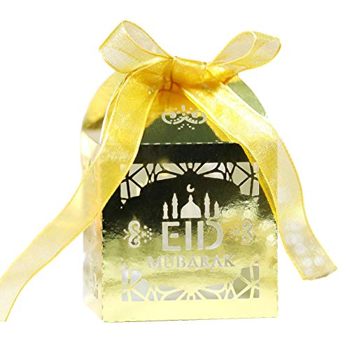 Caja de regalo musulmana, Palace Moon Eid Mubarak Ramadan Party Favor Chocolate Regalo Caja de papel Decoraciones Fácil de llevar Boda Candy Box