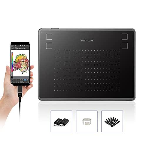 HUION Inspiroy H430P, Tableta de Dibujo gráfico de 4.8 x 3 Pulgadas, Tableta gráfica con 4 Teclas de Acceso Directo, 4096 Niveles de lápiz sin batería, Compatible con Mac, Windows, Android