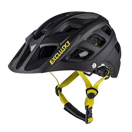 Exclusky Youth Bike Helmet Mountain Bike Helmet Kids Cycle Helmet, Easy Attached Visor Adjustable Boys and Girls 54-57cm(black)