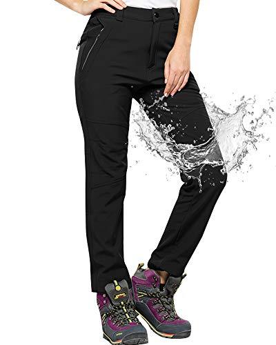 Jessie Kidden Womens Fleece-Lined Soft Shell Hiking Fishing ski Pants Insulated Waterproof Wind Resistant Mountain Trousers,5088F,Black,US XXL 38
