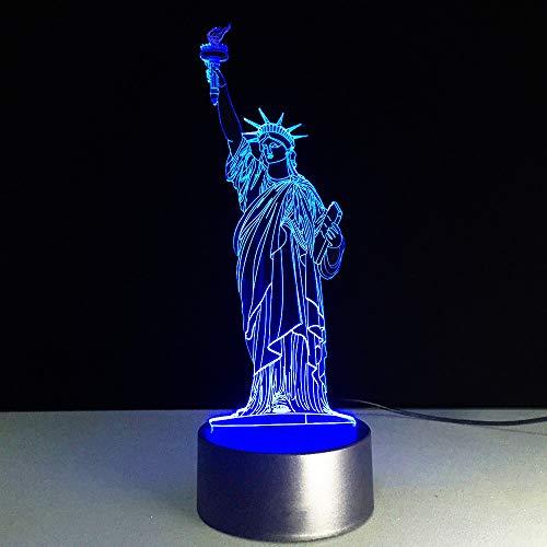 3D Illusion Lampe Freiheitsstatue Led Nachtlicht7 Farben Ändern Schreibtischlampe Mit Usb-Kabel Kinder Stimmungslicht Fernbedienung Nachttischlampe Für Kinder Weihnachts Geschenk