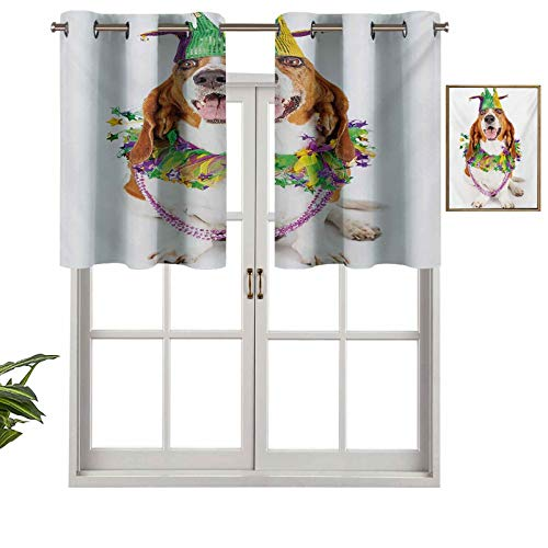 Short Curtains Valance Privacy Protection Happy Smiling Basset Hound Dog Wearing a Jester Hat Neck Garland Bead Necklace, Set of 1, 54'x18' Window Curtain Drapes for Bathroom Kitchen Living Room