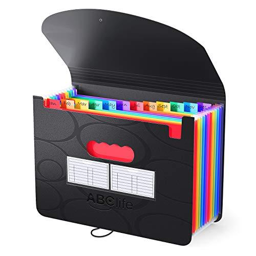 ABClife Cartella documenti A4, organizer per documenti a 12 scomparti, tasca per documenti di grande capacità, cartella espandibile a fisarmonica, cartella A4 cartella di ordinamento portatile