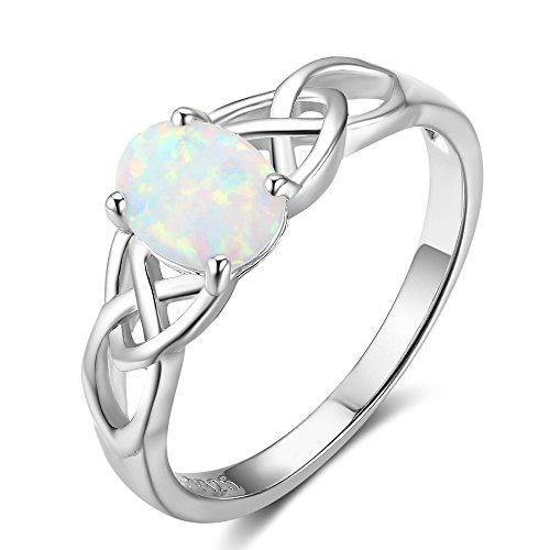 SILBERTALE Sterling Silver Opal Ring for Women Birthstone Opal Engagement Ring Size 8