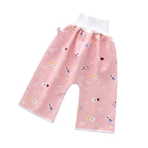 Baby-Windel-Trainingsrock, Pyjama, bequem, wasserdicht, Windelrock, Baumwolle, hohe Taille, Einheitsgröße, waschbar, wiederverwendbar, Stoffwindeln für Jungen und Mädchen Gr. 4-12 Jahre, Pink-Hose.