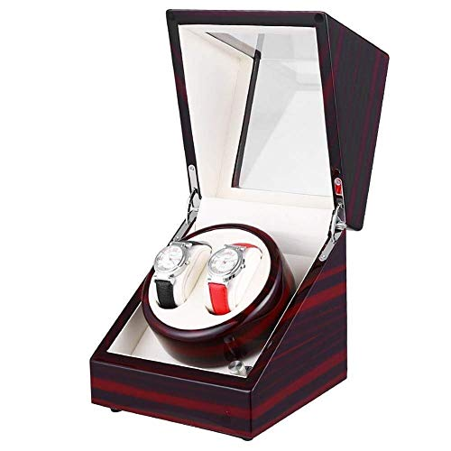 Devanadera De Reloj Almacenamiento De Cuero 5 Modos Motor Silencioso De Lujo Pintura De Piano Brillo Negro 2 Modos De Fuente De Alimentación Cubierta Abierta