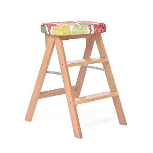 GXC klapstoelen van massief hout, creatieve ladder, hoge kruk, multifunctionele terrasstoelen, vaste hardware, multifunctionele draagbare klapstoelen voor in de keuken, woonkamer