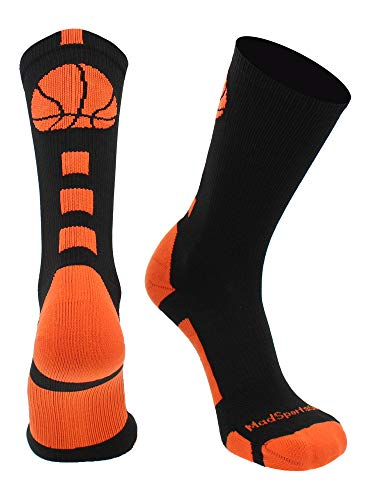 MadSportsStuff Basketball Logo Athletic Crew Socks, Medium - Black/Orange