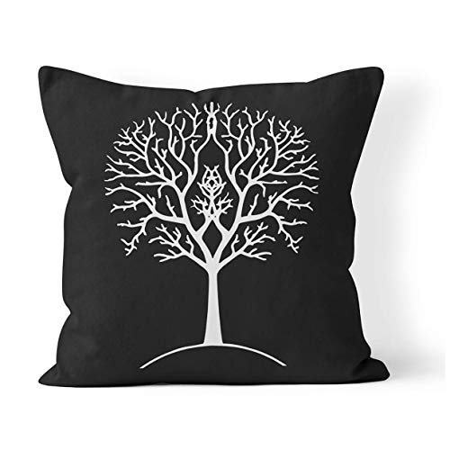 N / A Cushion Cover Autumn Tree Silhouette Black And White Gondor Lord Of The Ring Branches Drawing 45X45Cm Decorative Cushion Case Christmas Square Sofa Pillow Cover Pillowcase Throw P