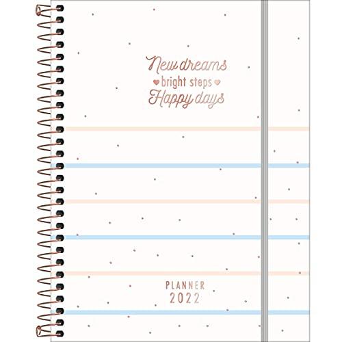 Planner Espiral 17,7 x 24 cm Soho 90 Grande 2022 - Estampa Listras azuis e rosas - new dreams - Tilibra