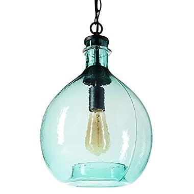CASAMOTION Wavy Hammered Hand Blown Glass Pendant Light, 1 hanging Light, 11'' diameter, Sea Green