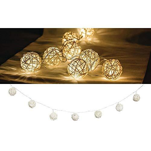 EQT-TEC Lichterkette 10 LED 2.1 m Licht Dekoration Kugeln Ball Lichtschlauch Fotoshooting Deko Lampe