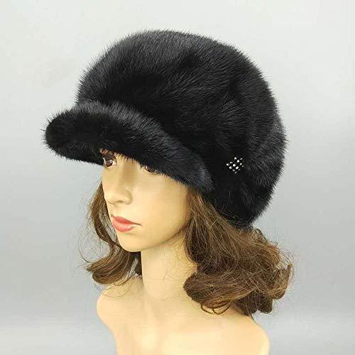 DELLA Women's Winter Hats Fur Cap Hat Keep Warm-Black