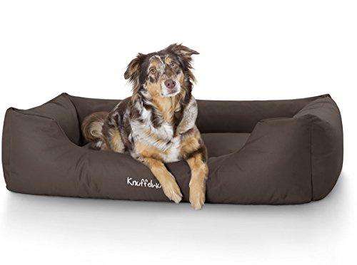 Knuffelwuff Hundebett XXL Finlay Hundekorb Hundesofa Hundekissen Hundekörbchen sehr Robust aus texturiertem Nylon waschbar Braun 120 x 85cm Grosse Hunde