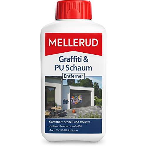 Mellerud Graffiti & PU Schaum Entferner – Zuverlässige Hilfe bei Verschmutzungen durch Graffiti, 2-K-PU-Schäumen, Marker und Filzstiften – 1 x 0,5 l