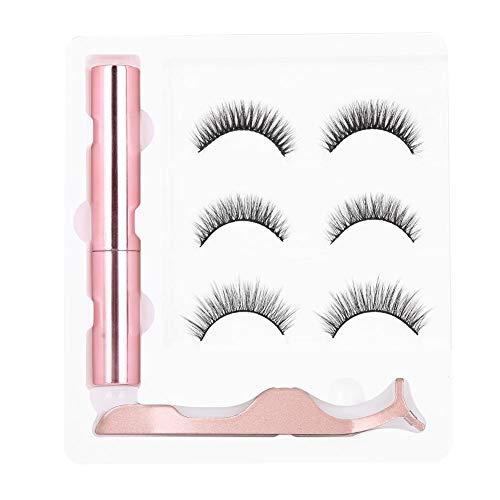 3 paires de faux cils réutilisables imperméables, ensemble de pincettes pour eyeliner liquide magnétique(M2)
