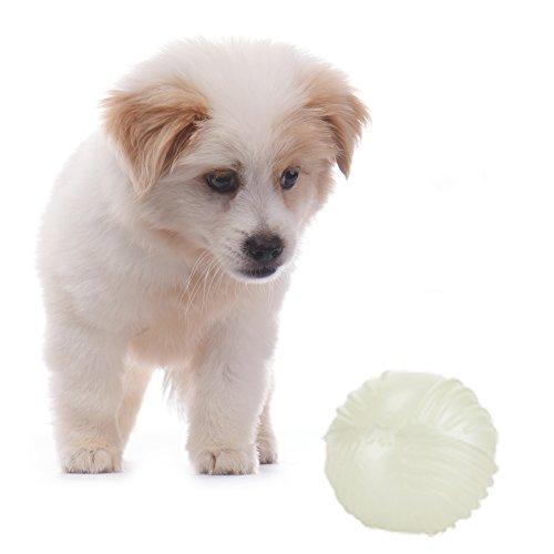 Gorgebuy Spielzeug TPR Hundespielzeug leuchtball leuchtet im Dunkeln mit Dental-Zahnpflege-Funktion Spielball/Wurfball Kauspielzeug für alle Hunde