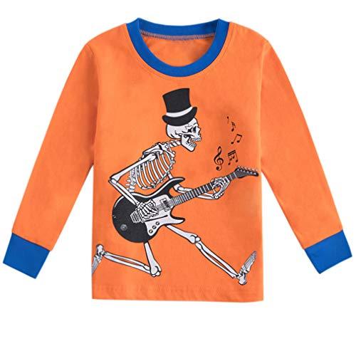 Csbks Kids Novelty Skeleton Glow in The Dark T-Shirt Boys Girls Cotton Long Sleeve Tee Tops B3 100
