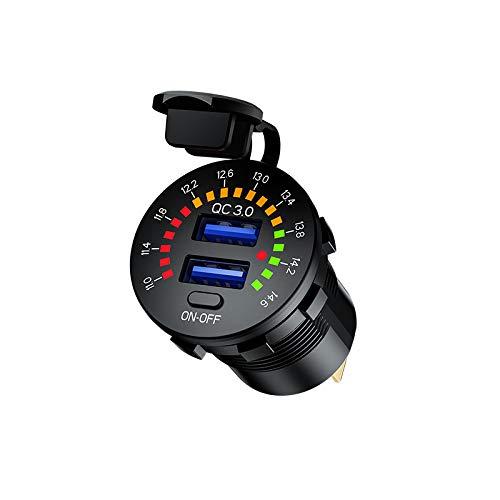 Jtron qc3.0 autoladegerät Dual USB Steckdose mit Voltmeter Schalter Wasserdicht 36W 6A 12V USB Outlet DC12V für Auto Boot Motorrad Truck Golf Cart modifizieren