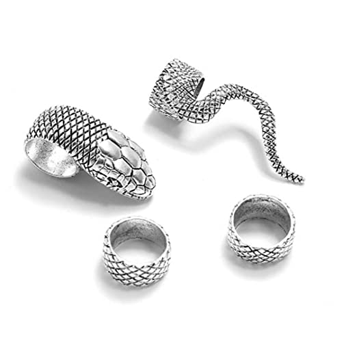 Froiny 4pcs Schlange-Ring-Set Für Mädchen Männer Weinlese-punkmetall Knuckle Joint Ring-Partei Schmuck-Geschenk
