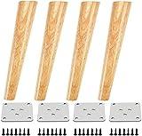 Qrity 4x Patas de Madera para Muebles Sofá Gabinete Oblicuas Cónicas TV de 250 mm de Altura con Alfombrilla Antideslizante, Tornillos y Placa de Montaje