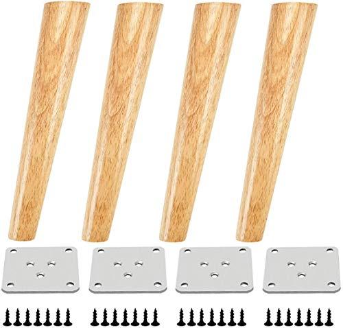 Qrity 4 Pezzi Piedini Mobili 25cm Piedini in Legno Gambe di Ricambio in Legno per Cabinet Divano Letto Tavolo con Piastra di Ferro, Pad Antiscivolo e Viti