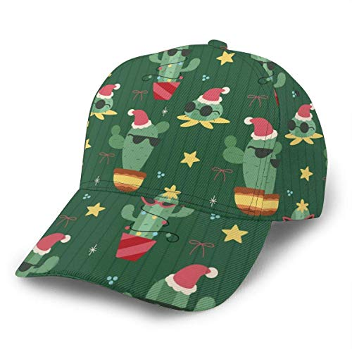Quintion Cooper - Gorra de béisbol ajustable, diseño de cactus navideños, color negro