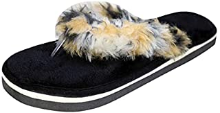 HD Women Cotton Winter Fur Flip Flop Home Carpet Slipper