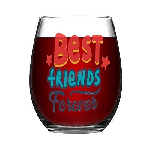 YY-one Copa de vino grabada personalizada sin tallo, 325 ml – Best Friends Forever, copas de vino, bodas, fiestas, cumpleaños, regalos para papá, hombres, amigos, padres