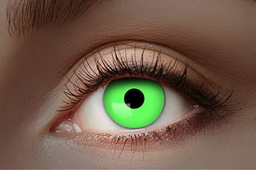 Eyecatcher 84027541-043 - Farbige UV-Kontaktlinsen, 1 Paar, für 12 Monate, Neon Grün, leuchtend, Karneval, Fasching, Halloween