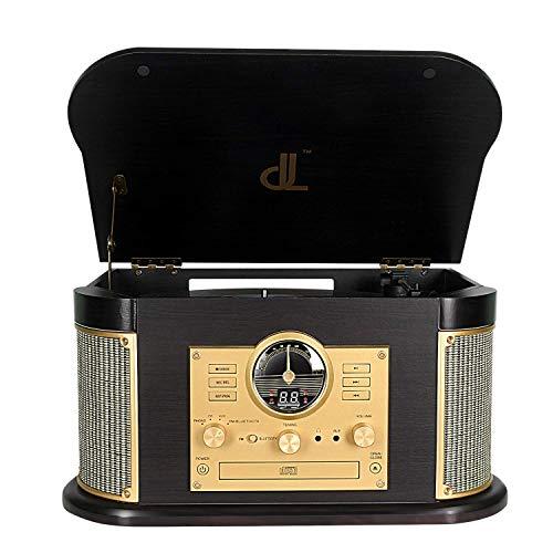 Tourne-Disque, DLITIME 7 in 1 Platine Vinyle en Vintage Record Player avec Radio AM&FM USB RCA AUX CD Bluetooth Turntable